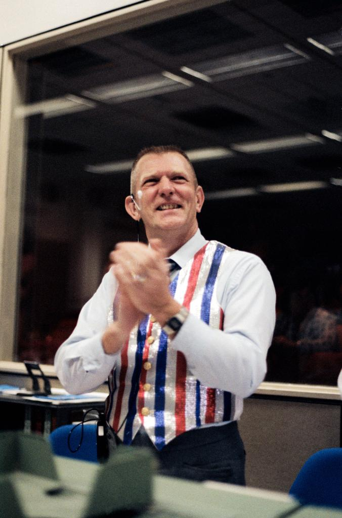 #HappyBirthday to legendary flight director Gene Kranz. He is best known for his work in Mission Control during Apollo 13 (and his many vests), but Kranz served a long, storied career from Project Mercury into the Shuttle era. In this photo, he celebrates the landing of STS-41C.