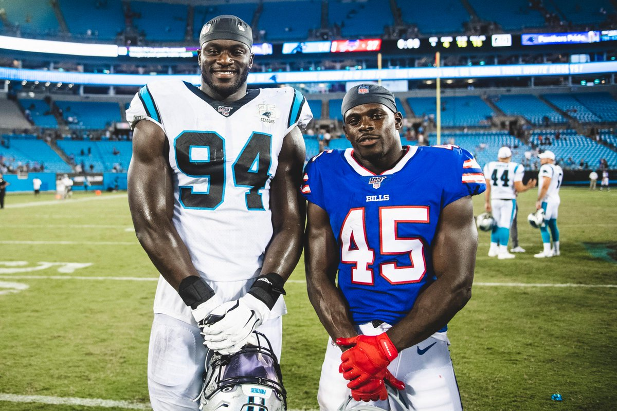 One picture. Two gents. @EfeObadaUK 👉 @Panthers @ChristianWade3 👉 @BuffaloBills