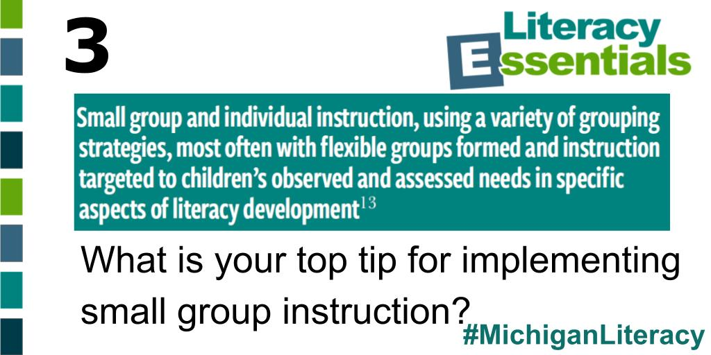 Q3: What is your top tip for implementing small group instruction? #MichiganLiteracy<br>http://pic.twitter.com/7TzagwjkU2