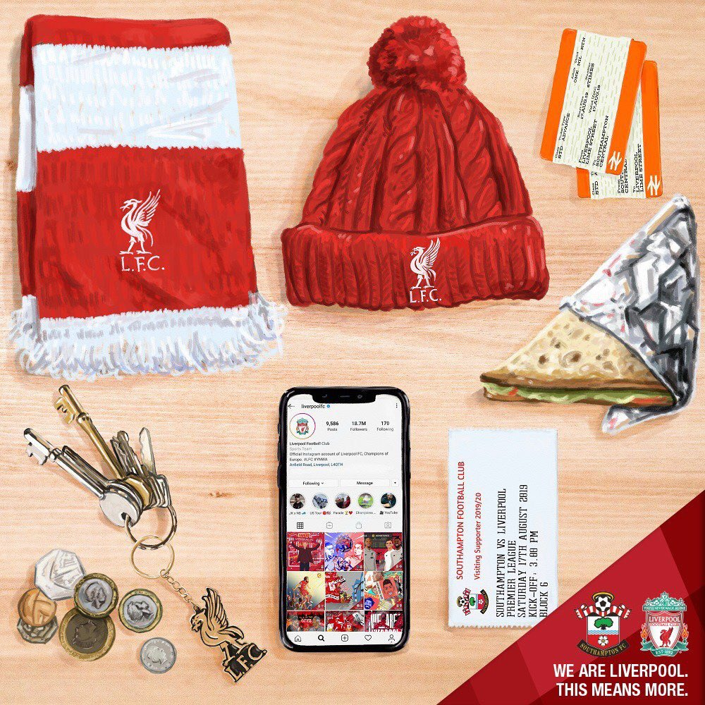 The fourth graphic in the #ThisMeansMore project is by the talented @philthyart with art direction from myself. It's being used to promo Southampton v LFC, the first away game in the league for the Reds. It captures the feeling of packing your things for an away day with LFC.