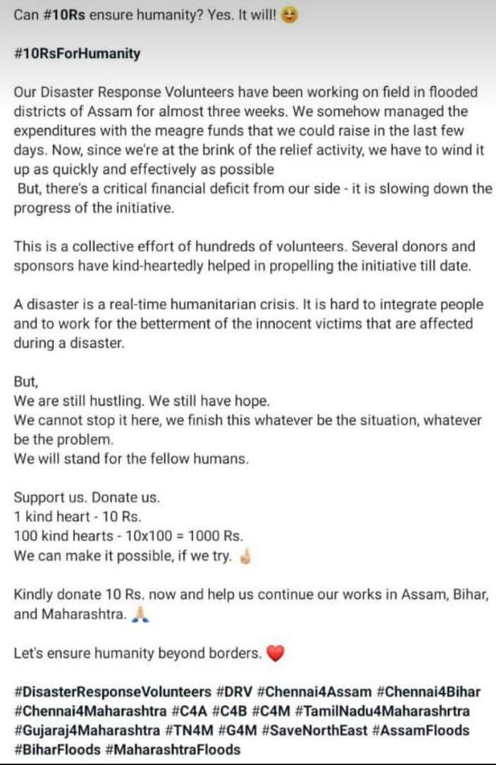 #DRV verified.   Please share. Let's ensure humanity beyond borders!   #DRV #Chennai4Assam #Chennai4Bihar #Chennai4Maharastra  #Nilgiris #MaharashtraFloods  #biharfloods #KarnatakaFloods2019  #KeralaFloods2019   @deepsealioness @HiteshMadras<br>http://pic.twitter.com/CLPCiX4K3m
