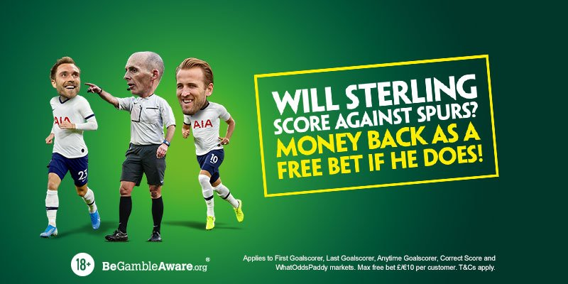 Man City v Spurs Money Back Special! Money back as a Free Bet on selected markets if Sterling scores against Spurs. (90 mins only, max bet a tenner, T&Cs apply). Bet here: pdy.pr/X4XFNU