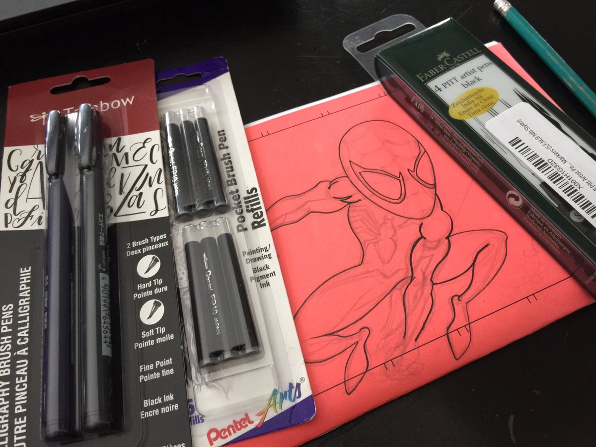 Reloaded. Hoping to get on this Chibi PS4 Spider-Man sketch I started @sketchcharlotte  #spiderman  #sketch #wip #supplies #tombow #pentelpocketbrush #pittpens #sketchcharlotte #ps4spiderman<br>http://pic.twitter.com/kIR2GzXoYj