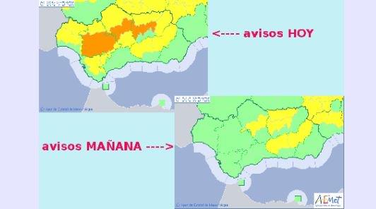 @AEMET_Andalucia @Ayto_Sevilla #AEMET actualiza #FMA por temp. max en Andalucía. Activos hoy y mañana. Nivel máx naranja. Imagen del mapa de avisos en vigor a las 11:45. Para más info: n9.cl/9wiw Vía @AEMET_Andalucia #CecopSevilla #Gobernación