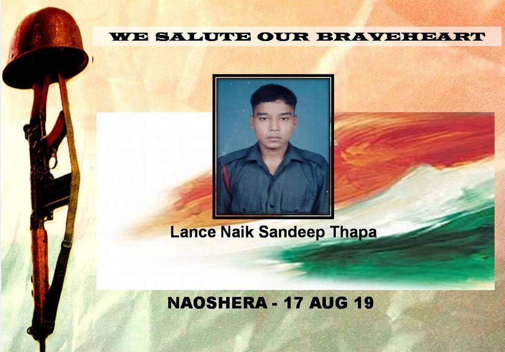 #LtGenRanbirSingh, #ArmyCdrNC and all ranks salute the supreme sacrifice of Lance Naik Sandeep Thapa and offer deepest condolences to the family.  @adgpi @PIB_India @SpokespersonMoD https://t.co/fGaYGahqAP