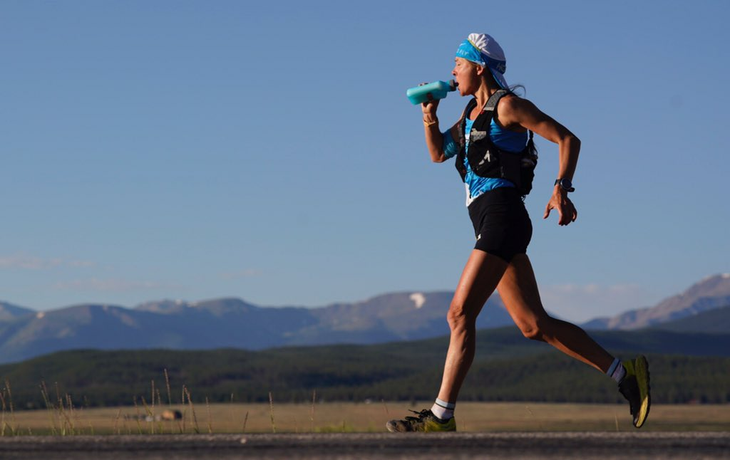 Strong. @RunBoulet is 23.5 miles in and in the lead. Sun is just up. It's heating up. #LT100run #GUFORIT