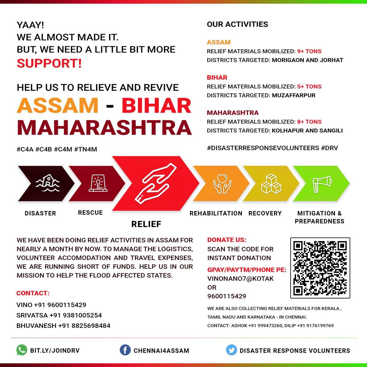 Can #10Rs ensure humanity? Yes. It will!   Please donate #10RsForHumanity and support us in our mission. Let's ensure humanity beyond borders.  #DisasterResponseVolunteers #DRV #Chennai4Assam #C4A #Chennai4Bihar #C4B #AssamFloods #SaveNorthEast #BiharFloods #MaharashtraFloods<br>http://pic.twitter.com/ele9zInJjr