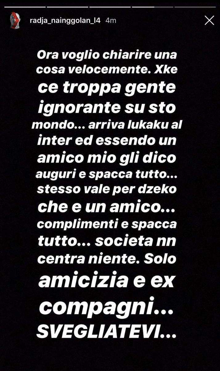 #Nainggolan preso di mira per i complimenti fatti a #Dzeko circa il rinnovo alla #Roma. Il belga chiarisce le sue posizioni sui social @OfficialRadja #Inter