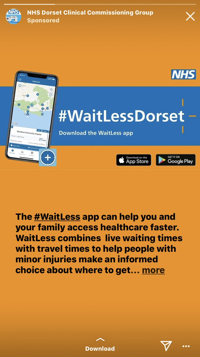 Love it when I open my Instagram to find this ad #dorset #DorsetWaitLess urgent care waitingtimes to your phone for an informed choice #bournemouth #poole #weymouth #dorchester #wareham #blandford #christchurch #wool #sandbanks<br>http://pic.twitter.com/3hymmniKXM