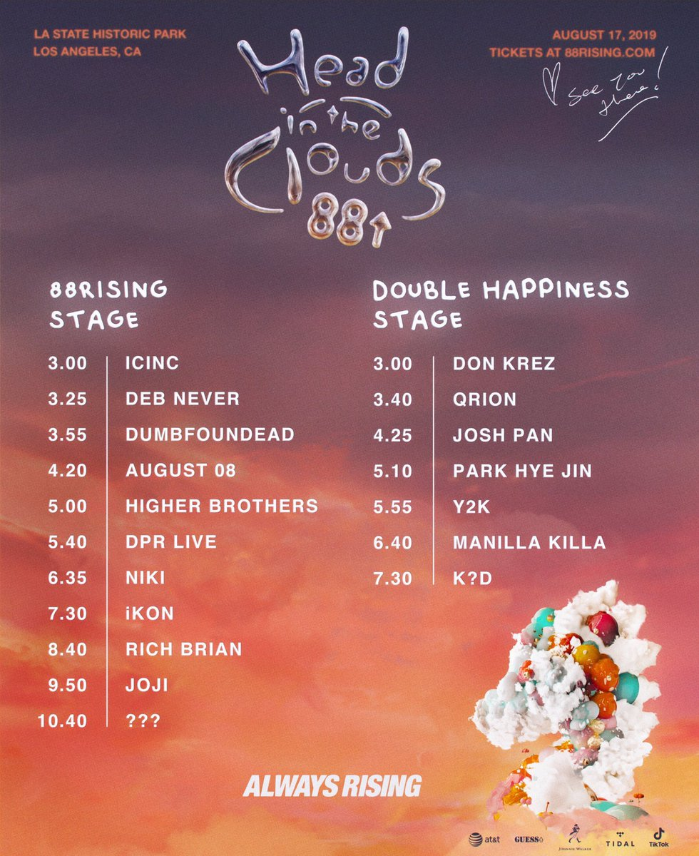 [#iKONSCHEDULE] 190817 (Saturday) 🏟 88rising's Head In The Clouds Festival 📍 LA State Historic Park, Los Angeles, CA ⏰ 7:30 PM PDT (August 18, Sunday, 11:30 AM KST) Don't forget to use the hashtag #iKONatHITC during the event & help it trend. See you later! @YG_iKONIC