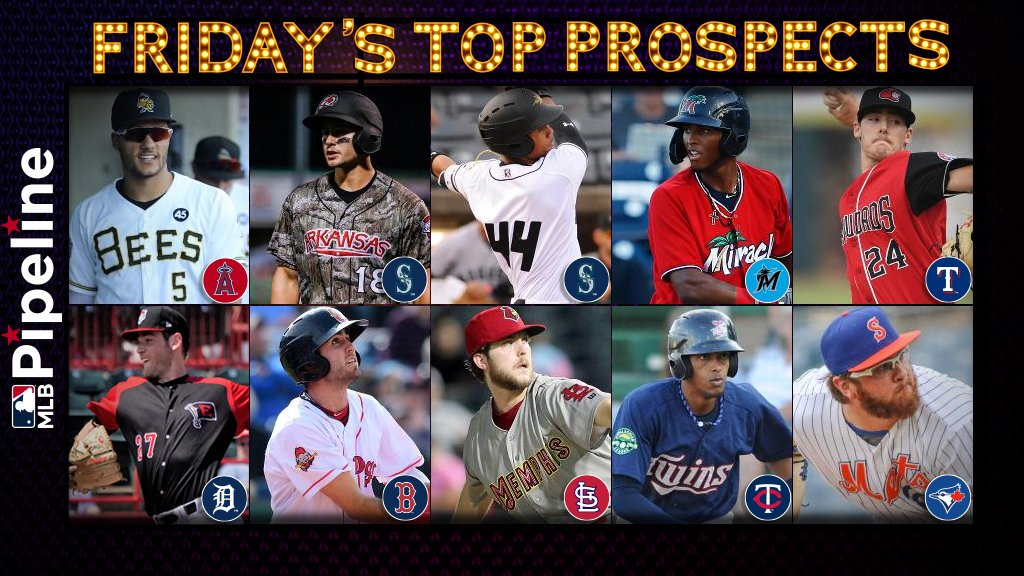 Fridays top 10 prospect performers: atmlb.com/33Q3JGG ⭐ #Angels Hermosillo ⭐ #Mariners Kelenic & Rodriguez ⭐ #Marlins Diaz ⭐ #Rangers Winn ⭐ #Tigers Wentz ⭐ #RedSox Chatham ⭐ #STLCards Woodford ⭐ #MNTwins Javier ⭐ #BlueJays Kay