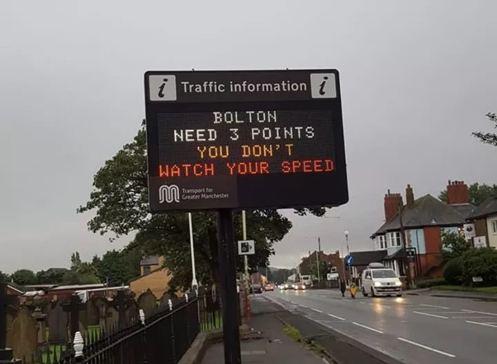 Things are looking bleak for Bolton who are 2-0 down. Even Greater Manchester Transport were trolling them in the week.