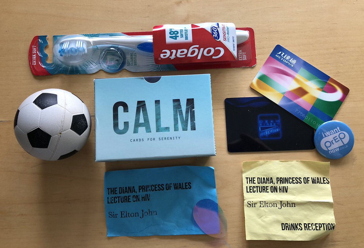 """The things that make up that """"man-drawer"""" really do sum me up! Spare (slut) toothbrush Stress ball Cards of calm HIV event tickets 56 Dean Street loyalty card Hong Kong subway card iwantPrEPnow pin badge *my life! 😂"""