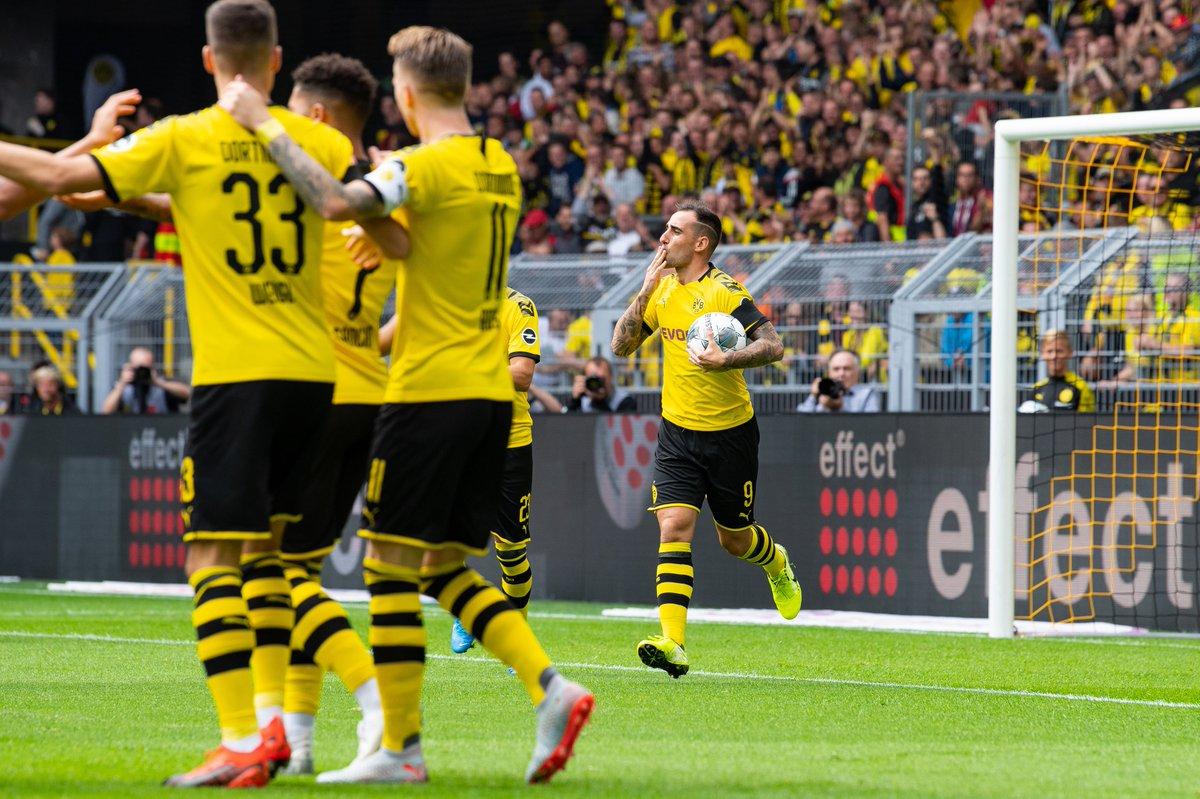 51: Jadon Sancho scores 57: Marco Reus scores 59: Paco Alcacer scores Three goals in under ten minutes for Borussia Dortmund.
