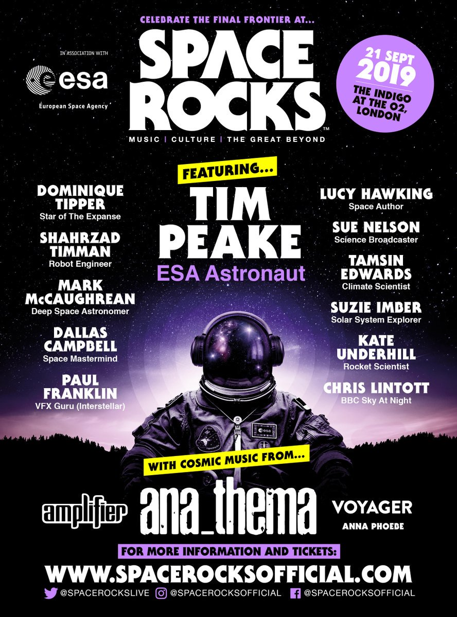 The award-winning @spacerockslive 🎶returns to the @indigoatTheO2 in London on 21 September for another celebration of #space #science & #engineering, along with the #art, #music & #scifi inspired by it, in association with @ESA 😎 👉 esa.int/About_Us/Partn… #spacerocks