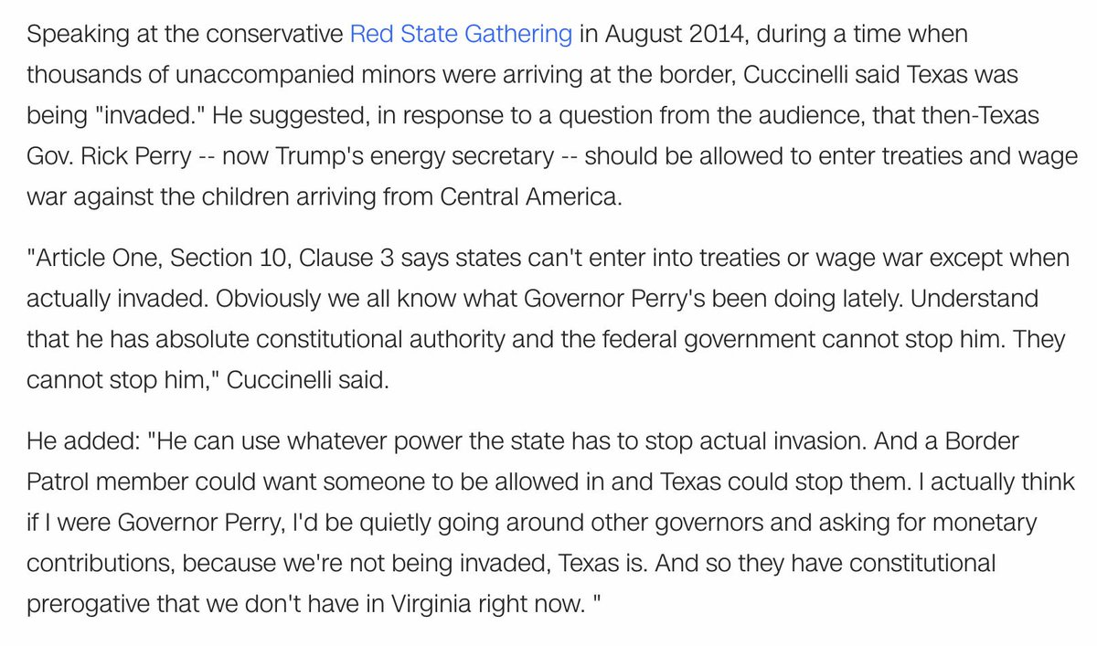 Cuccinelli has largely used the same rhetoric as the group – in a 2014 speech he said rush of unaccompanied minors at the border was an invasion that gave then- Texas Gov. Rick Perry the right to enter treaties and wage war under the Constitution.    https://www. cnn.com/2019/08/17/pol itics/kfile-ken-cuccinelli-immigration-invasion-rhetoric/index.html   … <br>http://pic.twitter.com/q88lSVyuI4