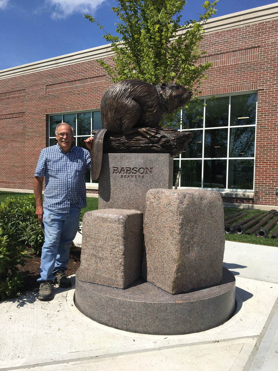 For those follow along, my Dad finished his beaver sculpture for @babson<br>http://pic.twitter.com/UmRoVfW2gt