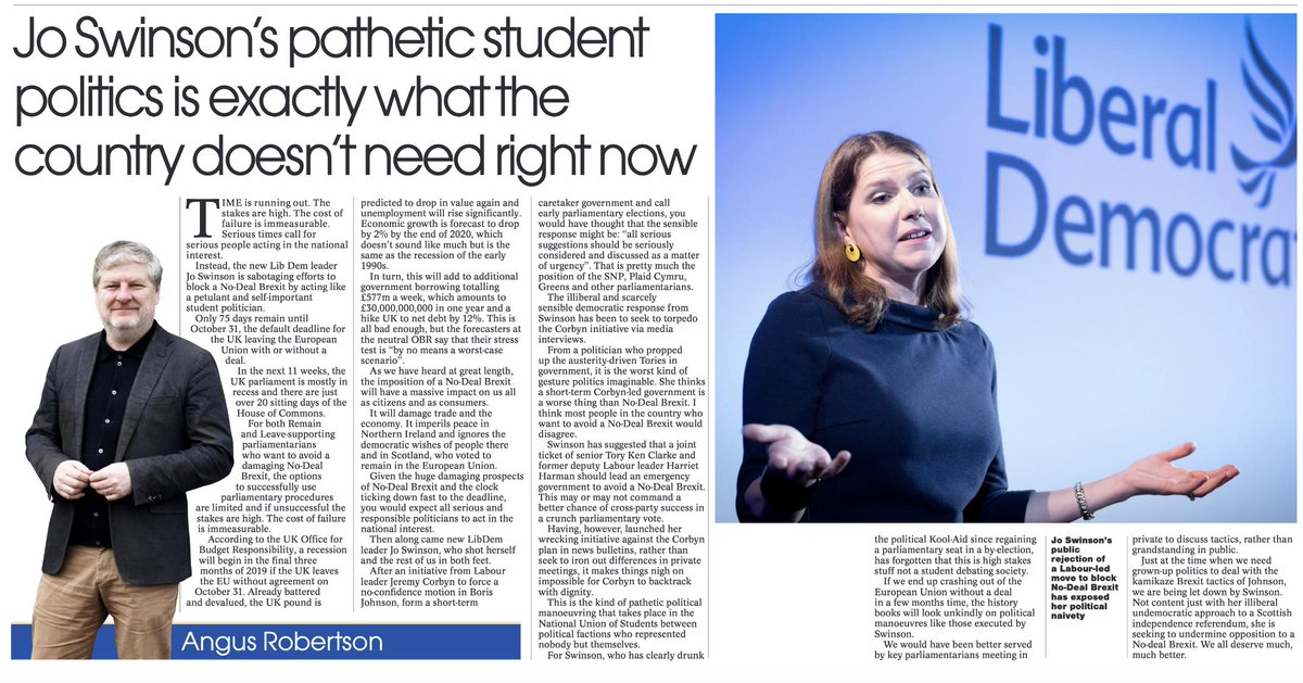 New LibDem leader Jo Swinson is sabotaging efforts to block a No-Deal Brexit by acting like a petulant and self-important student politician. Todays column in @ScotNational #Brexit #LibDem #JoSwinson