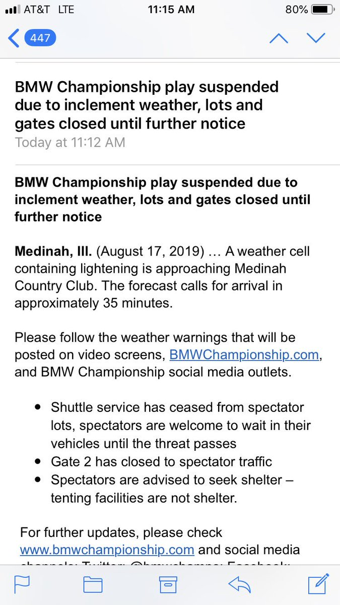 The Third Round Of The BMW Championship Has Been Delayed Due To Weather