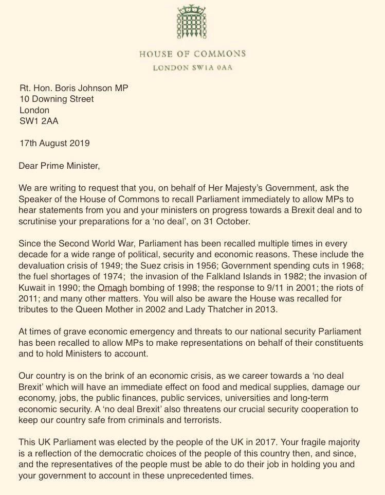 Pleased to join MPs from across the House in signing this letter to demand PM recalls Parliament This a national emergency. There is no mandate for a reckless No Deal #Brexit. Johnson & Cummings want to gag our democracy RT if you believe @BorisJohnson should #RecallNow