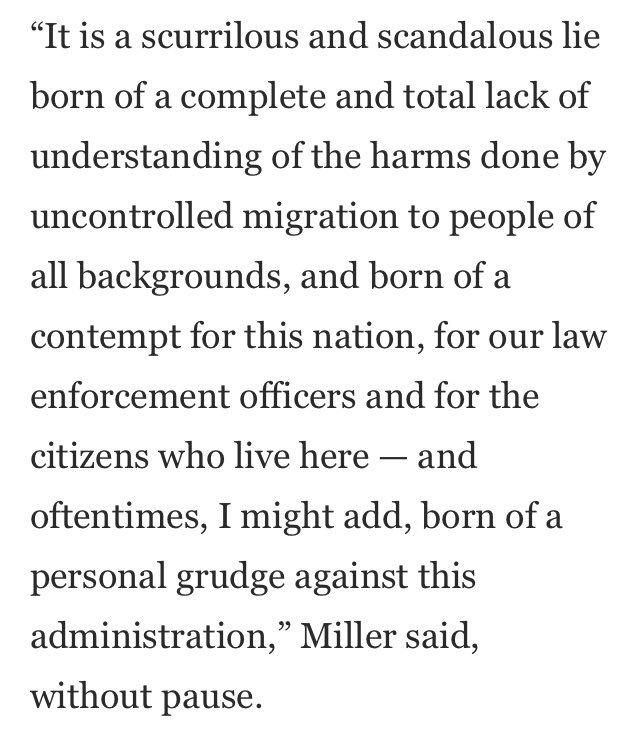 """Stephen Miller told @NickMiroff and @jdawsey1 that anyone who labels him a racist is """"an ignorant fool, a liar and a reprobate who has no place in civilized society"""" (he added more in the lengthy quote attached here)"""