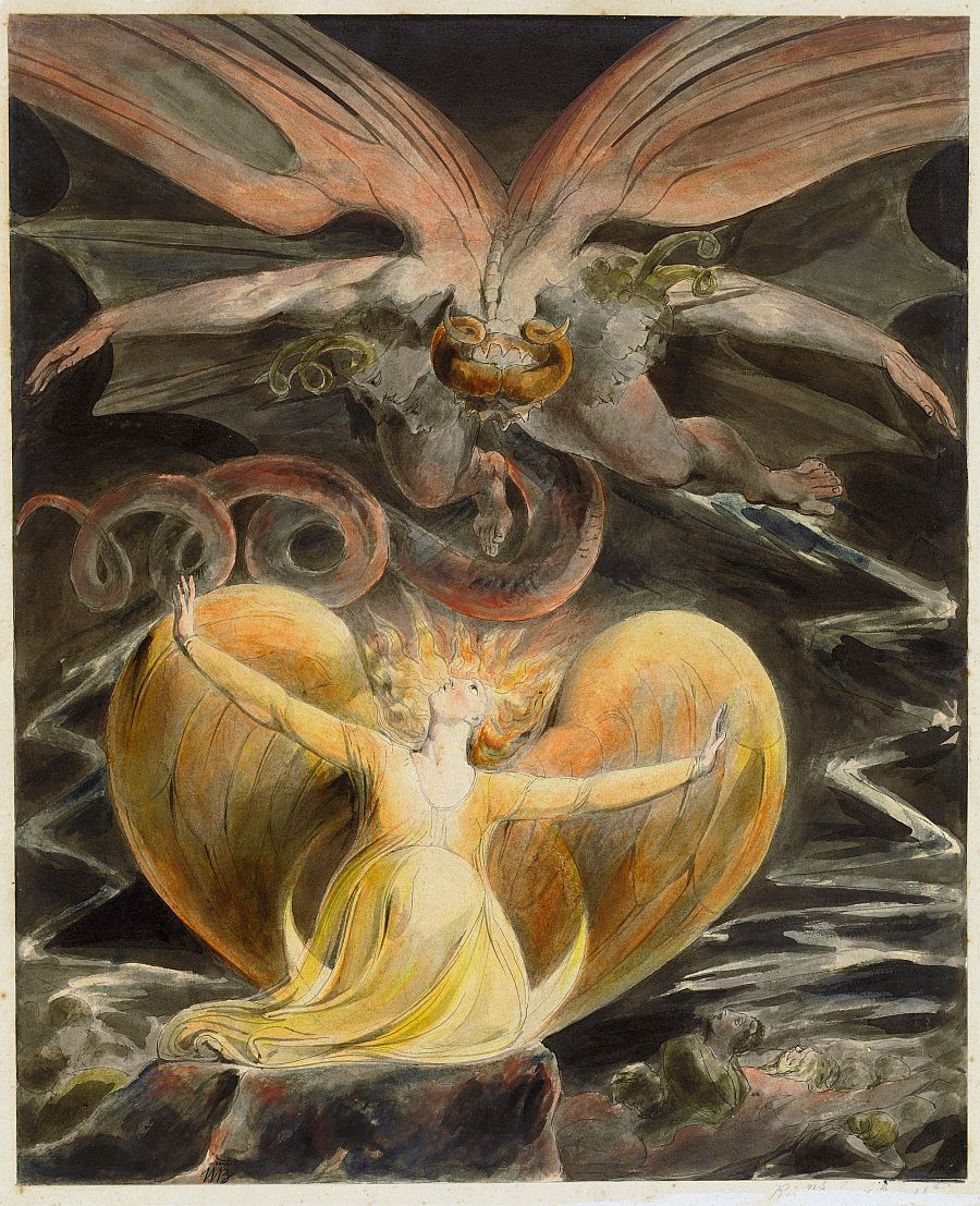 The Great Red Dragon and the Woman Clothed with the Sun (c. 1803-1805) by William Blake (UK, 1757-1827). National Gallery (London). #MythologyMonday #Dragonspic.twitter.com/7TOmCVbOZM
