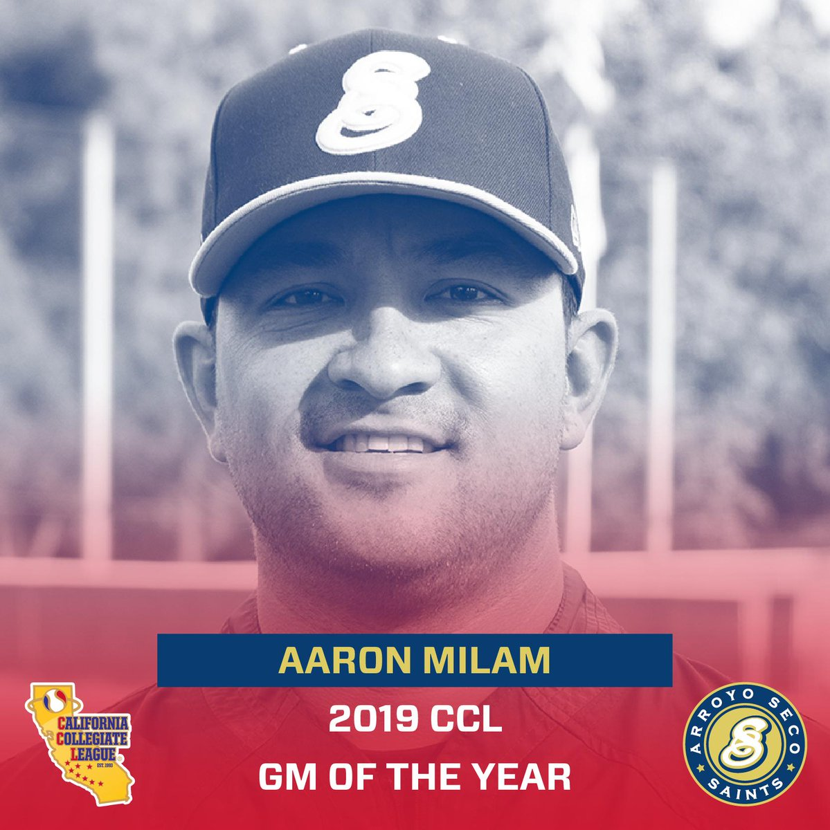 The Arroyo Seco Saints' Aaron Milam is named the 2019 @CCL_Baseball General Manager of the Year‼️  #SaintsOfSummer  @campadresports @James_Escarcega @CollegeSummerBB @CB_Daily @CBNewspaper @PasStarNews @ePasadenaNow @Outlook_Sports @Mr_Pasadena https://t.co/RwiHZJrbiU