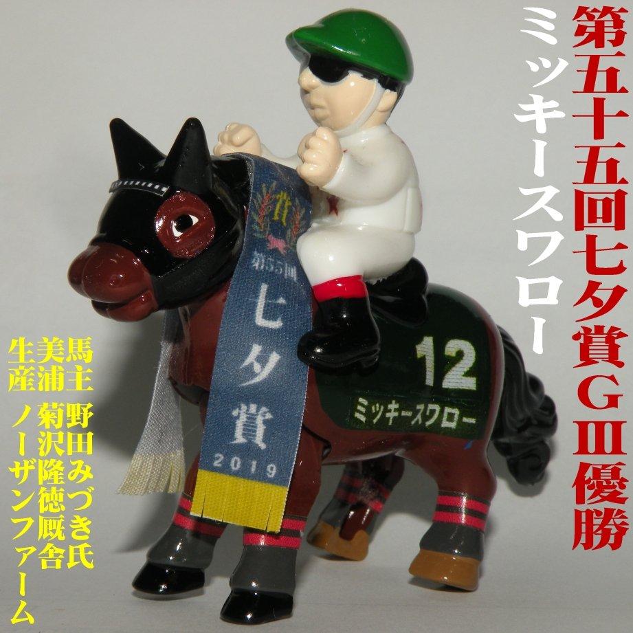 【8月の新作】第55回七夕賞(GⅢ)優勝ミッキースワロー(美浦/菊沢隆徳厩舎)。1年10ヶ月ぶりの重賞制覇!鞍上は3歳時にコンビを組んでいた菊沢一樹騎手。いわき特別は下手な乗り方してたけど、完璧な騎乗で重賞2勝目を挙げてくれました。いつかボニーたん(トーセンクッキー)との兄弟対決が見たい🤗