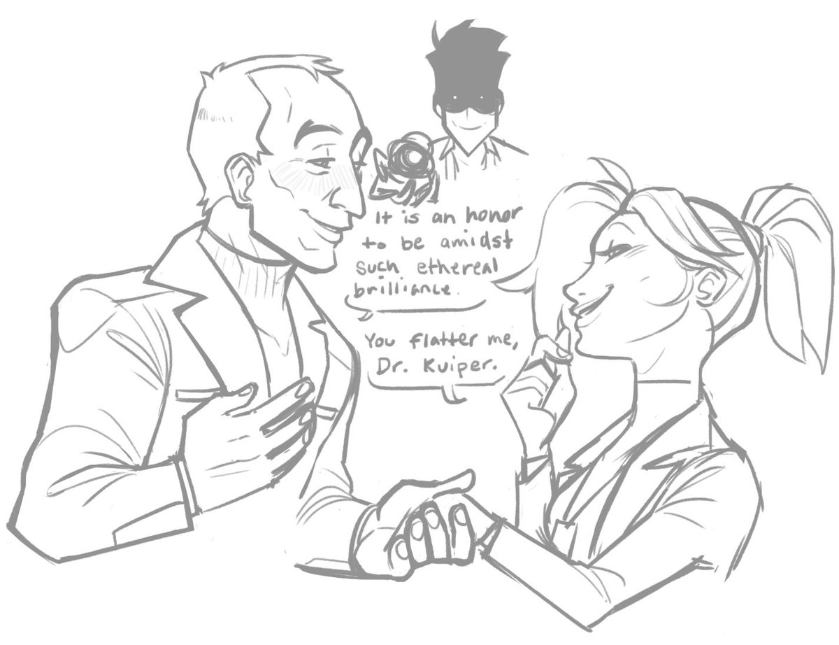 Sigma and Moira are stupidly in love with Angela so, of course, they fucking hate each other (Angela just likes being doted on) #overwatch <br>http://pic.twitter.com/ZNvuy65ieK