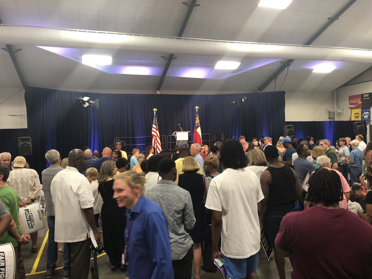 A few hundred people crowd into a Gwinnett elementary school gym to await @staceyabrams launch of Fair Fight 2020 voting rights initiative #gapol<br>http://pic.twitter.com/mmVg1ZKjks