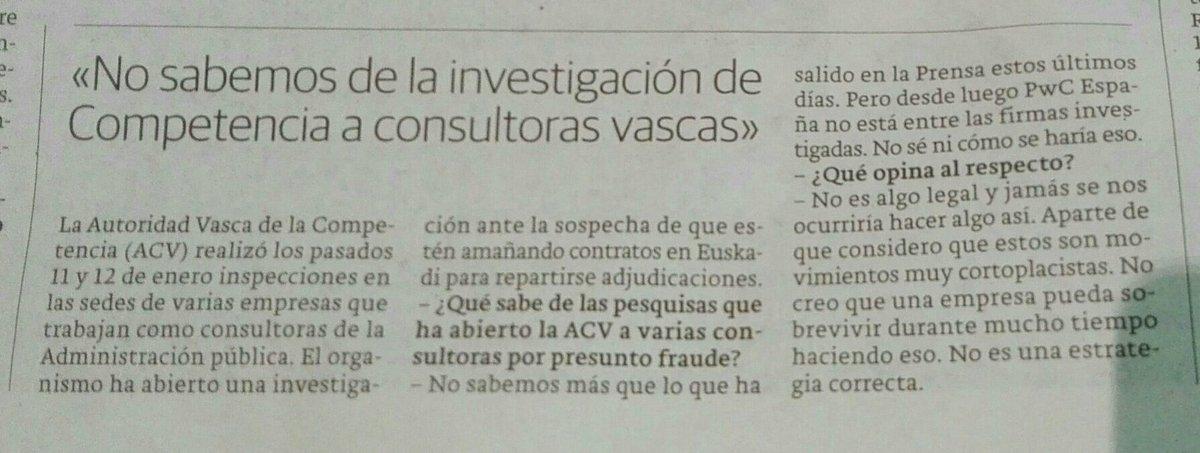 En 2017, la ahora expedientada por la CNMV, PWC, dijo no saber nada sobre la investigación de la Autoridad Vasca de la Competencia a consultoras vascas.