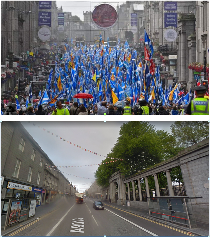 The camera *can* lie. Top: AUOB's distorting telephoto view of their Aberdeen march today. Below: the same view (different day obv) on Google maps, St Nicholas Kirkyard to the right of both pics. <br>http://pic.twitter.com/XrjTYXirkF