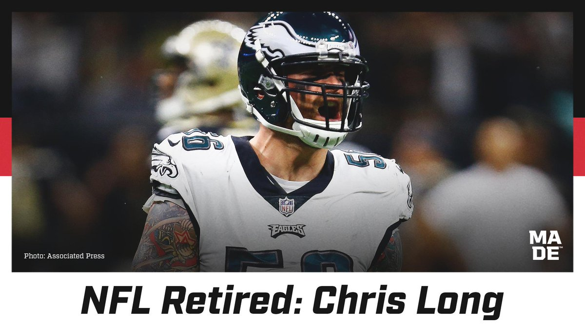 """Chris Long won Super Bowls LI and LII with the Patriots and Eagles. He won the Walter Payton NFL Man of the Year in 2018 too.   In retirement he will focus on """"Waterboys"""" a foundation he created that enlists NFL players to raise money for clean water projects in East Africa. <br>http://pic.twitter.com/3JENWFezpG"""