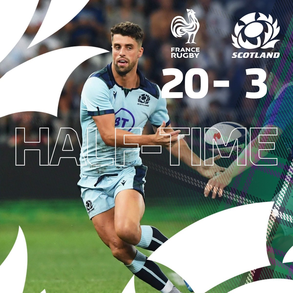 HALF TIME | 40 minutes played in Nice with the hosts holding a 17-point lead. #AsOne