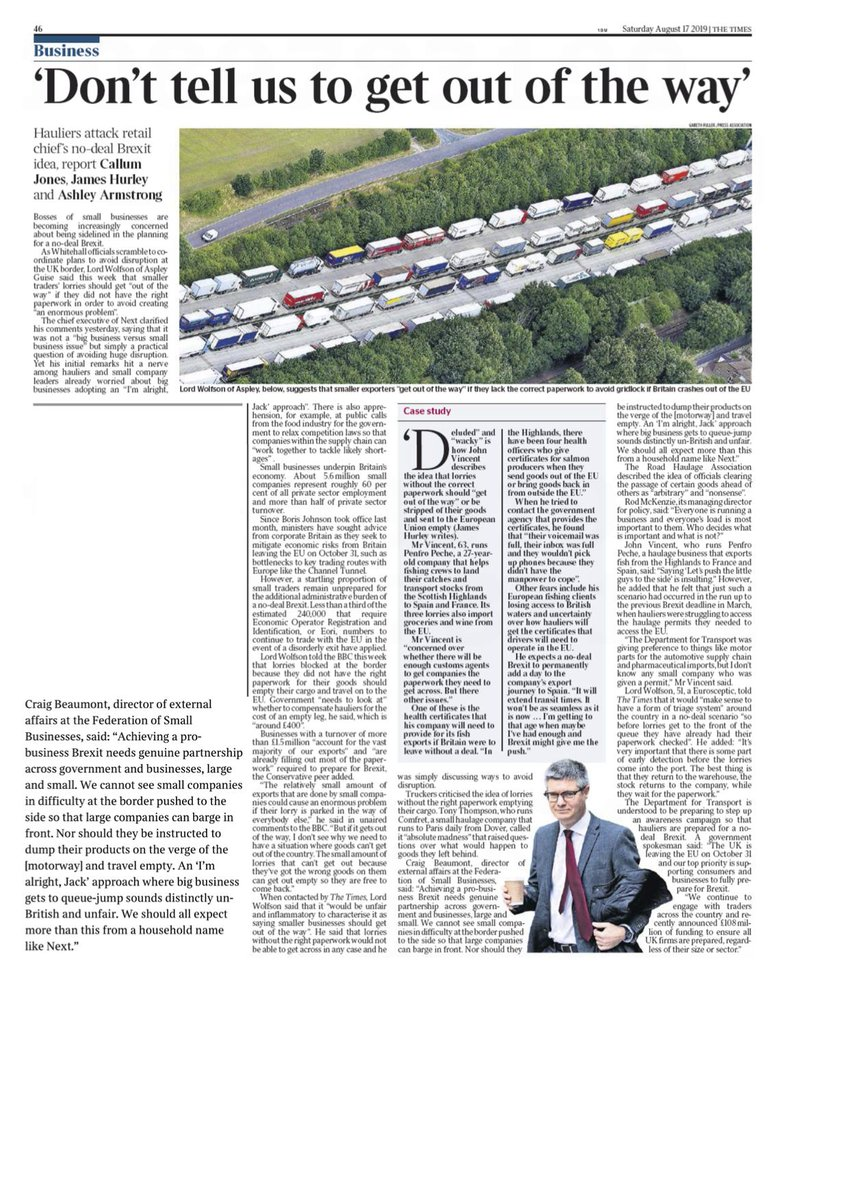 Important no-deal #Brexit splash in todays Times from @jameshurley @CallumIJones @AArmstrong_says Major firms like @nextofficial should be helping small suppliers prepare, not adopting an Im alright Jack approach and barging past them at the border thetimes.co.uk/edition/busine…