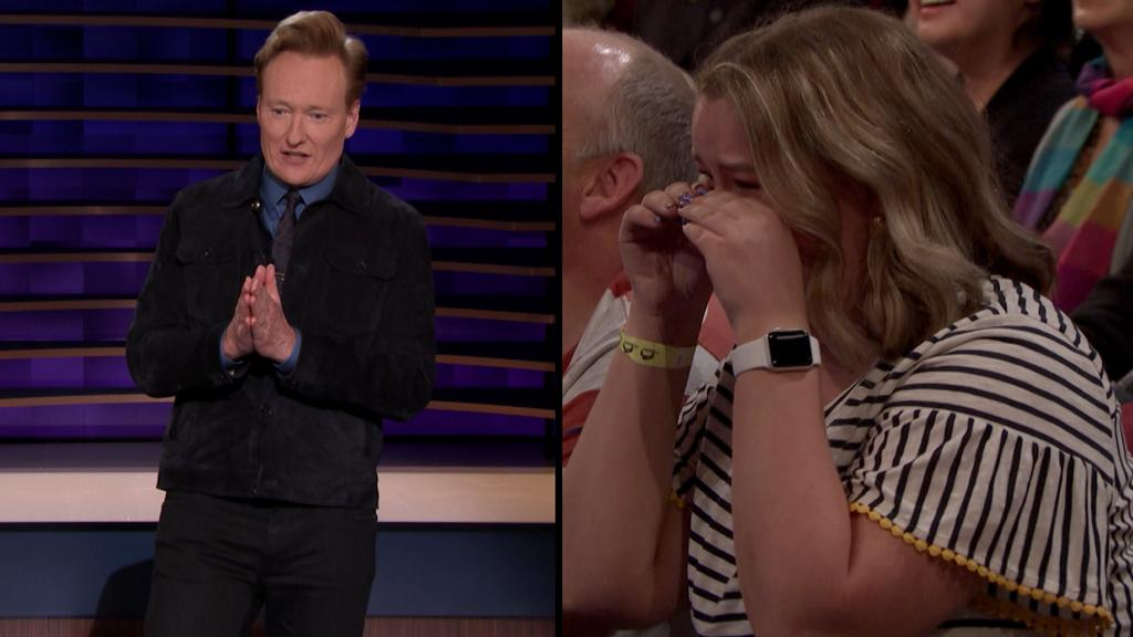 Previously on #CONAN: Conan made a woman in the audience cry during his monologue. https://youtu.be/SEVboh3bn6E