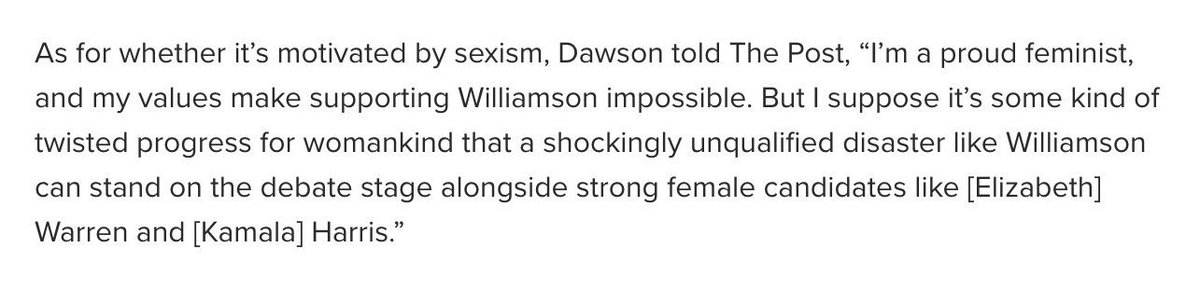 .@JenAshleyWright asked me if I had a comment on Marianne Williamson hiding behind feminism when called out on her anti-science views, and boy did I EVER. nypost.com/2019/08/17/mar…
