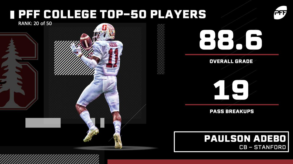 One of the best cornerbacks in college football, Paulson Adebo earned his spot on the PFF College Top 50!