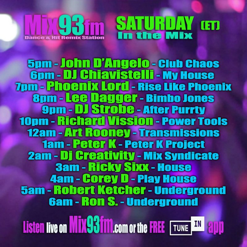 2pm PT / 5pm ET / 10pm UK #InTheMix on  http://www. Mix93fm.com     or Free @tunein app  https:// tunein.com/radio/Mix93fm- s297034/  …  #CommercialFree playing #Housemusic #EDM #Techno #TechHouse #Clubhits #Remixes<br>http://pic.twitter.com/JUGyqtsfCS