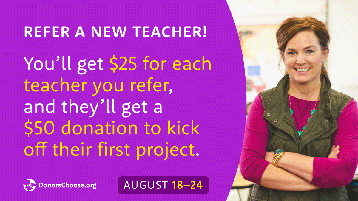 Tomorrow, tomorrow, we love you, tomorrow!  Our Welcome Week launches tomorrow, August 18th, until August 24th. New and active  http://DonorsChoose.org   teachers can earn bonus donations for their projects. Follow this link to know more:  http://DonorsChoose.org   #WelcomeWeek