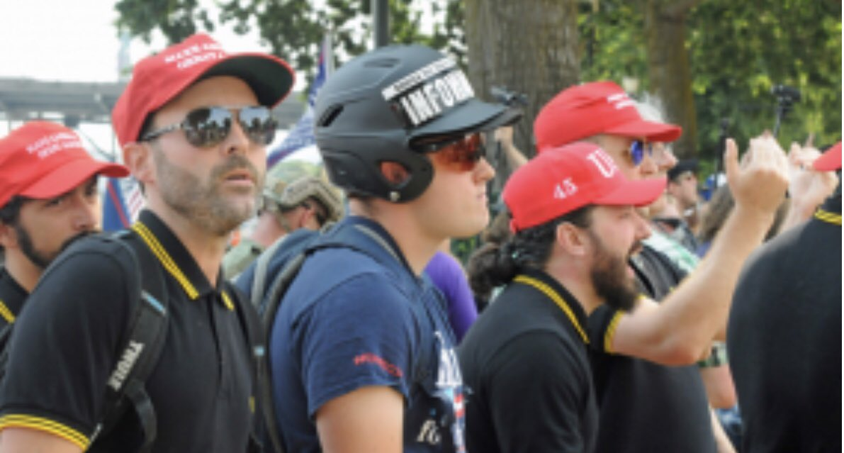 The Proud Boys are an Extreme Right White Supremacist Hate Group ... Wearing MAGA Hats