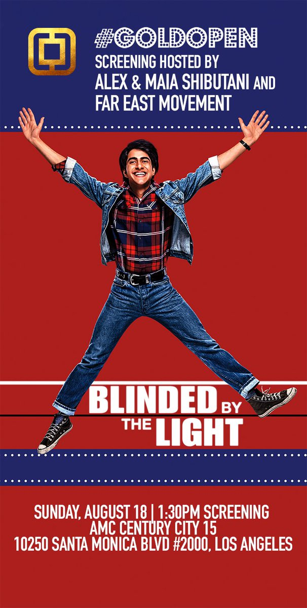 LOS ANGELES! @MaiaShibutani and I are opening a screening of #BlindedByTheLightMovie with our friends, @fareastmovement! Come see @BBTLmovie TOMORROW (for free) and let's give it a #GoldOpen! 🍿🎞