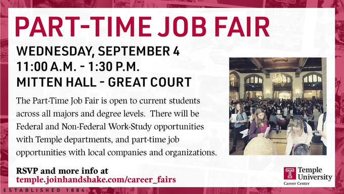 The @TempleCareers Part-Time Job Fair offers students the opportunity to meet with employers and find part-time jobs and internships both on and around campus!