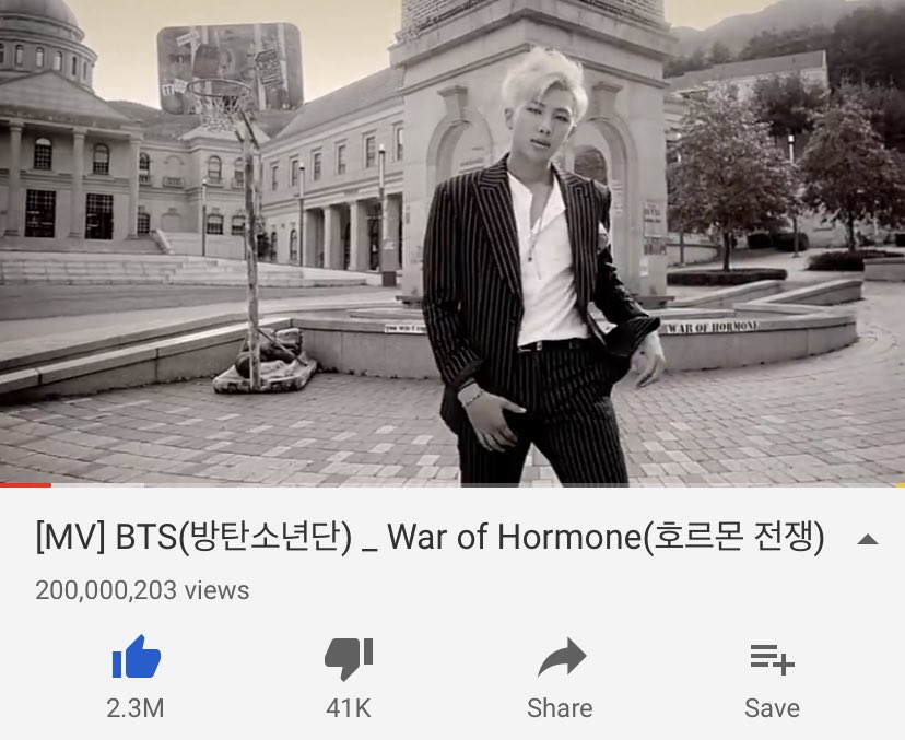 [#WOH200M] 190818 @BTS_twt Congratulations! War of Hormone Official MV' has surpassed 200 MILLION views. This is their 13th MV to have reached this milestone 🎉💜 🗣️ KEEP STREAMING: (youtu.be/XQmpVHUi-0A)