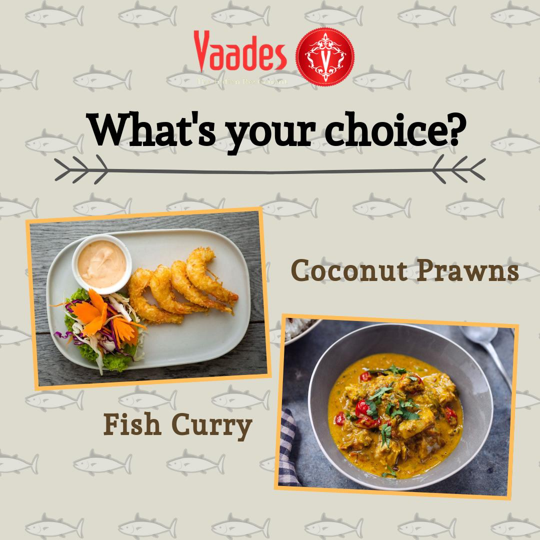 #Funzone: Let us also know what's your pick ;) . #weekend #seafood #coconutprawns #fishcurry #meal #deliciousfood #weekend #vancouverfoodie #britishcolumbia #canada #vancouverfood #vaadesnorthshore #vaades