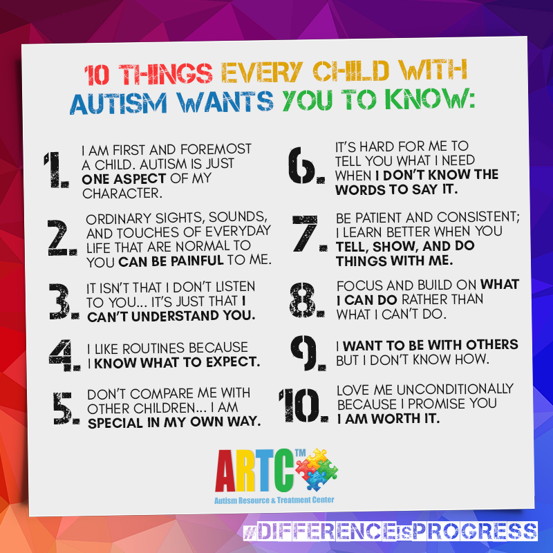 10 things every child with Autism wants you to know!  Have a great day!  Your likes, comments and shares help us reach out to more people and spread awareness!  #AutismBetterTogether #ARTC #autism #autismawarenss https://t.co/FPbb4NCVVP