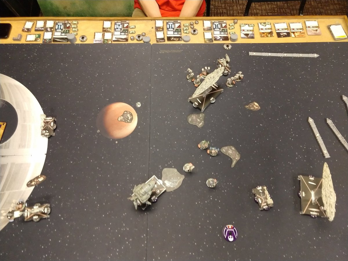 He dropped Salvation into play at top of Round 2. Like true Rebels we're keeping our distance