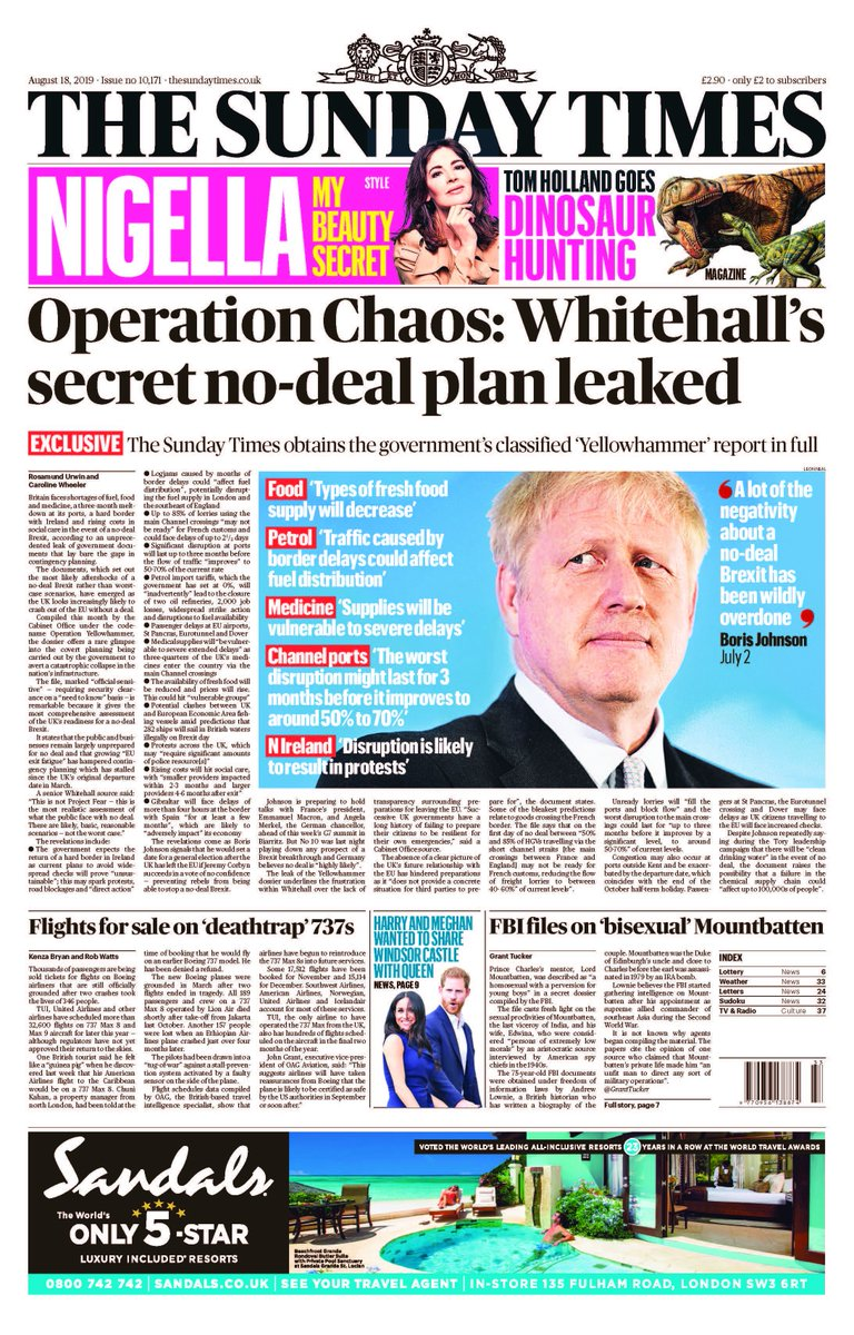 The Sunday Times has obtained a copy of the government's classified 'Yellowhammer' report on the chaos expected after a no-deal Brexit. Find out how Whitehall is preparing for food and medicine shortages, transport disruption and civil unrest in our comprehensive coverage.