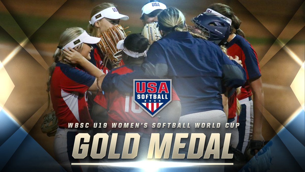 WORLD CHAMPIONS!!!    The USA Softball U19 Women's National Team comes back from a three-run deficit in the 8th inning to defeat Japan, 4-3, in the @WBSCsoftball #U19SoftballWC championship game!  #NCAASoftball ( @USASoftball)<br>http://pic.twitter.com/R5wfm7EVJa