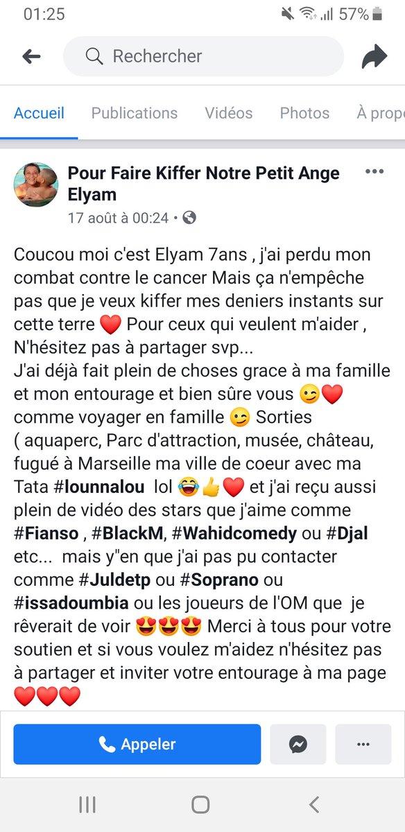 Bonsoir la #TeamOM , je viens de tomber là-dessus sur Facebook, Elyam a été touché par ce putain de cancer, il lui reste un peu de temps avant de partir et cest un grand supporter de l@OM_Officiel , sil vous plaît partagez afin quil puisse réaliser son rêve. #OM #FCNAOM